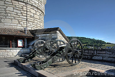 Canons on the Munot Fort, Schaffhasuen, Switzerlan