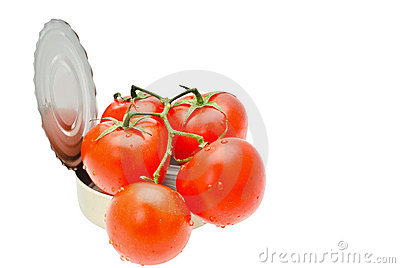 Cans- bunch of red tomatoes