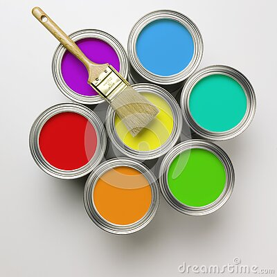 Free Cans Of Paint With Paintbrush Stock Photo - 7291360