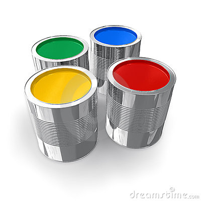 Free Cans With Color Paint Stock Image - 8766811