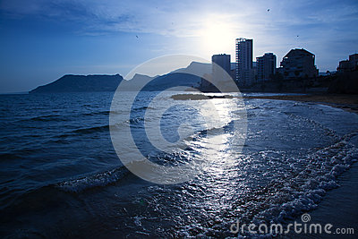 Cantal roig beach in blue sunset at Calpe in Alicante