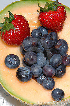 Free Cantaloupe, Blueberries And Strawberries Stock Photo - 183980