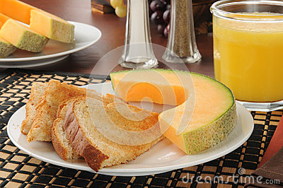 Cantaloupe and toast