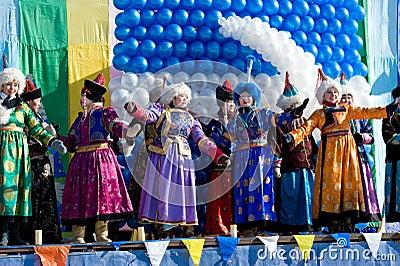 Cantantes mongoles en Shrovetide Imagen editorial