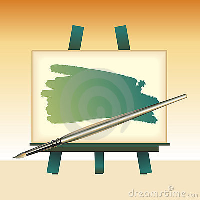 Canvas board and color brush