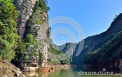 Canyon landforms in DaJin Lake, Fujian, China