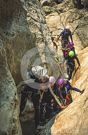 Canyoning in Southern France Editorial Stock Image