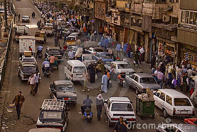 Caotic traffic jam in a market in cairo Editorial Image