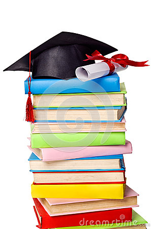 Cap and diploma on top of stack of books