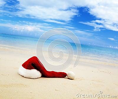 Cap of Santa and sea