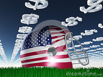 Capacete de futebol da bandeira americana com as nuvens do símbolo do dólar