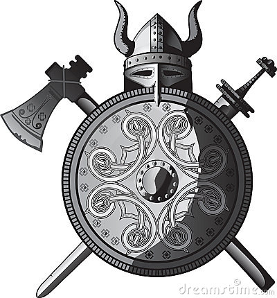 Capacete, espada, machado e protetor de Viquingues
