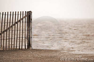Cape Cod Wooden Fence on Beach