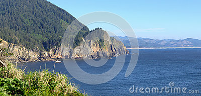 Cape Falcon viewpoint Oregon coast panorama.