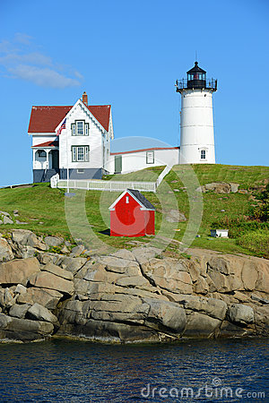 Free Cape Neddick Lighthouse, Old York Village, Maine Stock Photos - 43913193
