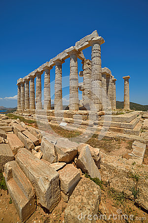 Cape Sounion. The site of ruins of an ancient Greek temple of Poseidon, the god of the sea in classical mythology.