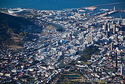 Cape Town city centre viwed from Table Mountian