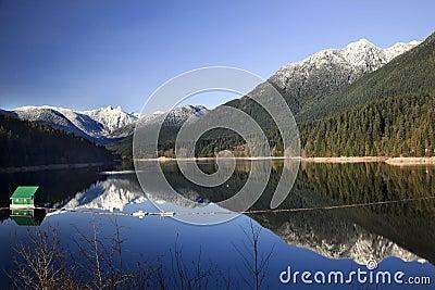 Capilano Reservoir Snowy Mountains Vancouver