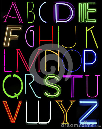 Capital neon letters
