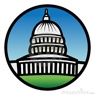 Cartoon vector illustration of a capitol building