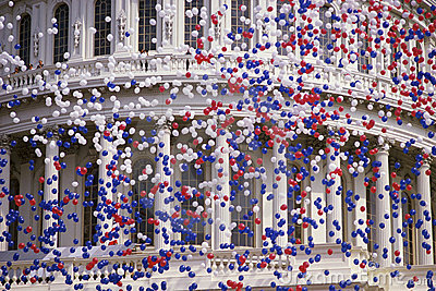 Capitol Building with red, white, and blue balloon