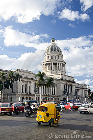 Capitolio and the cocotaxi, Havana, Cuba Editorial Image