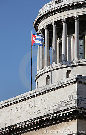 Capitolio and Cuban Flag in Havana