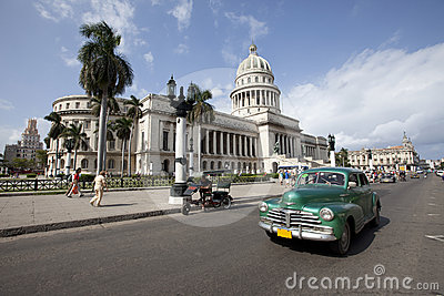 Capitolio with Vintage Car, Havana Editorial Stock Image