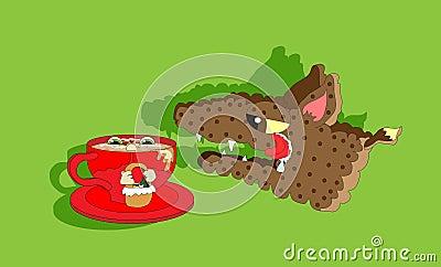 Capo motor de montar a caballo rojo y lobo hambriento