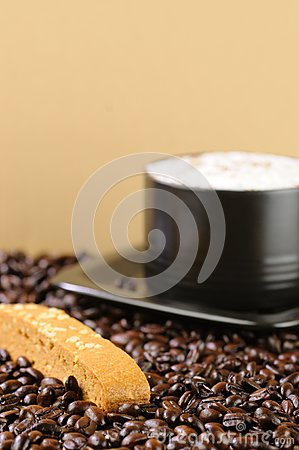 Cappuccino Coffee with Caramel Biscotti