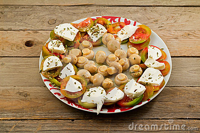 Caprese and mushrooms