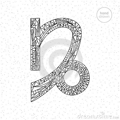 Free Capricorn Zodiac Sign Collection. Vector Hand Drawn Horoscope Series Illustration. Astrological Coloring Page. Royalty Free Stock Photography - 102602247