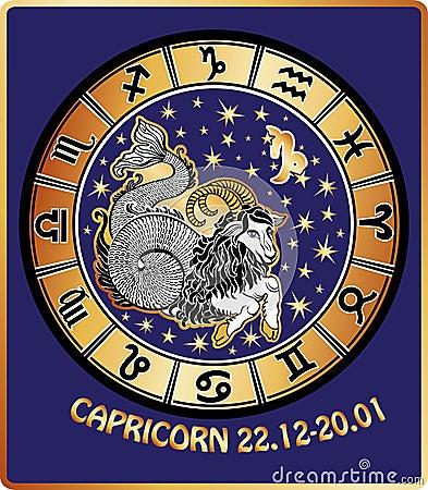 Free Capricorn Zodiac Sign.Horoscope Circle.Retro Royalty Free Stock Photos - 39026228