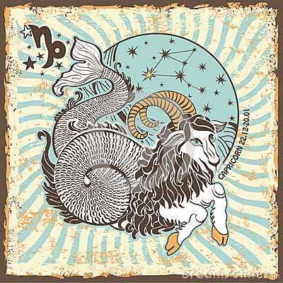 Free Capricorn Zodiac Sign.Vintage Horoscope Card Stock Photography - 40566102