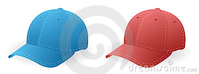 Caps blue and red