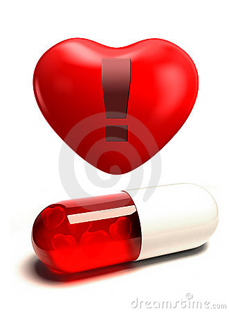 Capsule pill and heart