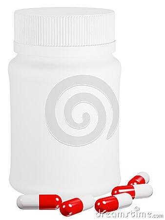 Capsule pills and white plastic bottle.