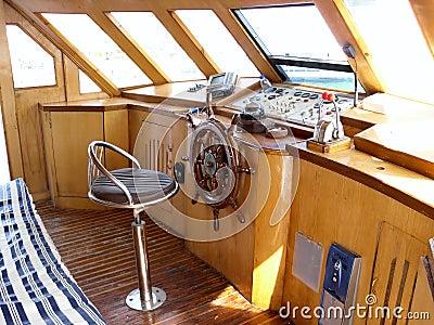 Captain s bridge of the sea boat