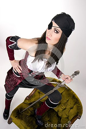 Captains Mate One Eyed Pirate Chick Eyepatch Sword