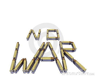 Caption no war from 3D bullets