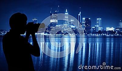Capture the night scene of Perth
