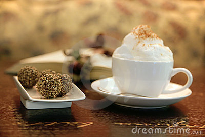 Capuccino cup with truffles