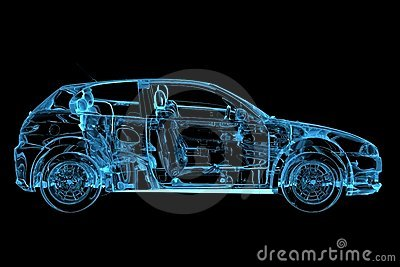 Car 3D rendered xray blue