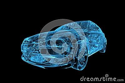 Car 3D xray blue