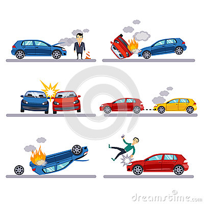 Free Car Accidents Set On White Stock Photo - 58513690