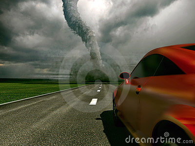 Car against tornado