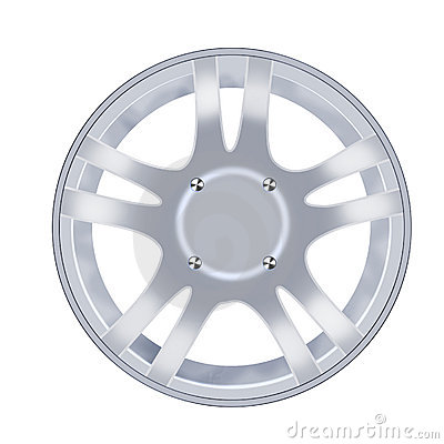 Free Car Alloy Wheel Isolated Over White Background Stock Images - 18370834