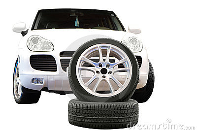 Car aluminum wheel and 4x4 suv isolated