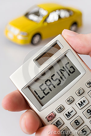 Free Car And  Hand Holding A Pocket Calculator With Leasing Text Royalty Free Stock Photo - 62957855