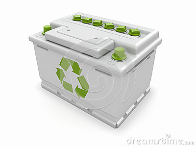 Car battery with green recycle sign.